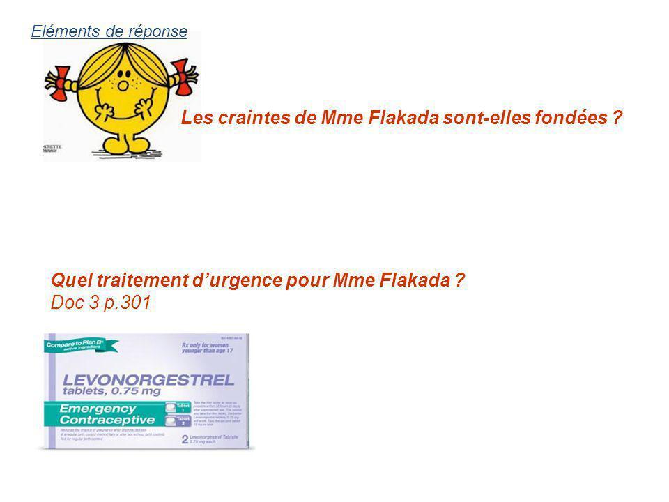 Les craintes de Mme Flakada sont-elles fondées ? Quel traitement durgence pour Mme Flakada ? Doc 3 p.301 Eléments de réponse