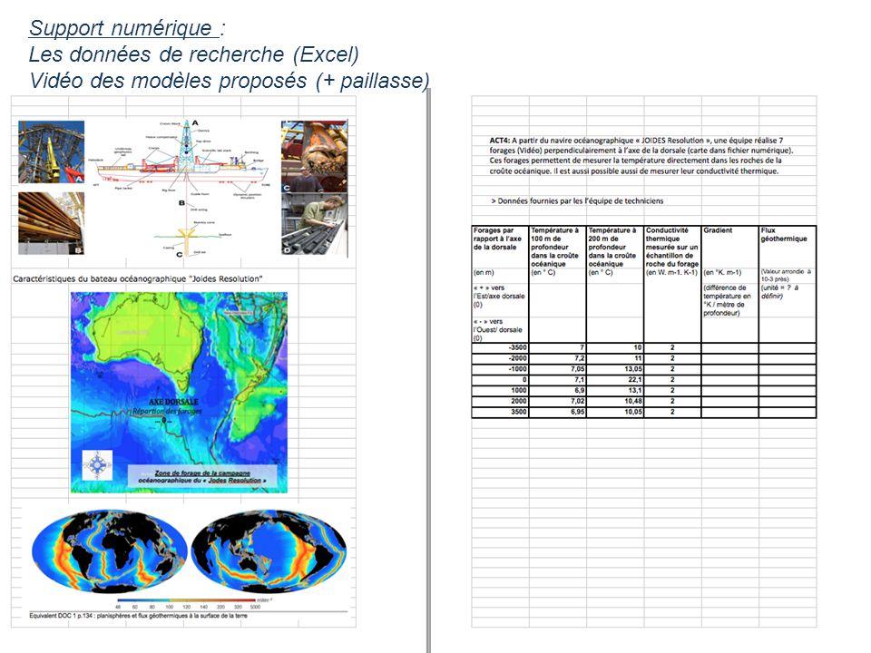 Support numérique : Les données de recherche (Excel) Vidéo des modèles proposés (+ paillasse)