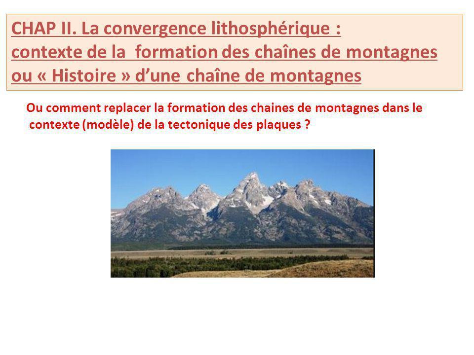 CHAP II. La convergence lithosphérique : contexte de la formation des chaînes de montagnes ou « Histoire » dune chaîne de montagnes Ou comment replace