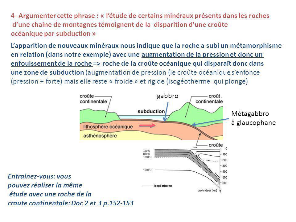 4- Argumenter cette phrase : « létude de certains minéraux présents dans les roches dune chaine de montagnes témoignent de la disparition dune croûte