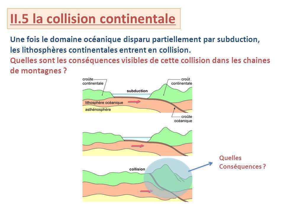 II.5 la collision continentale Une fois le domaine océanique disparu partiellement par subduction, les lithosphères continentales entrent en collision