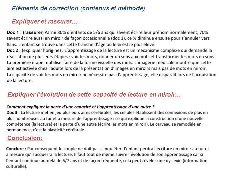 Eléments de correction (contenus et méthode) Expliquer et rassurer… Expliquer lévolution de cette capacité de lecture en miroir… Conclusion: