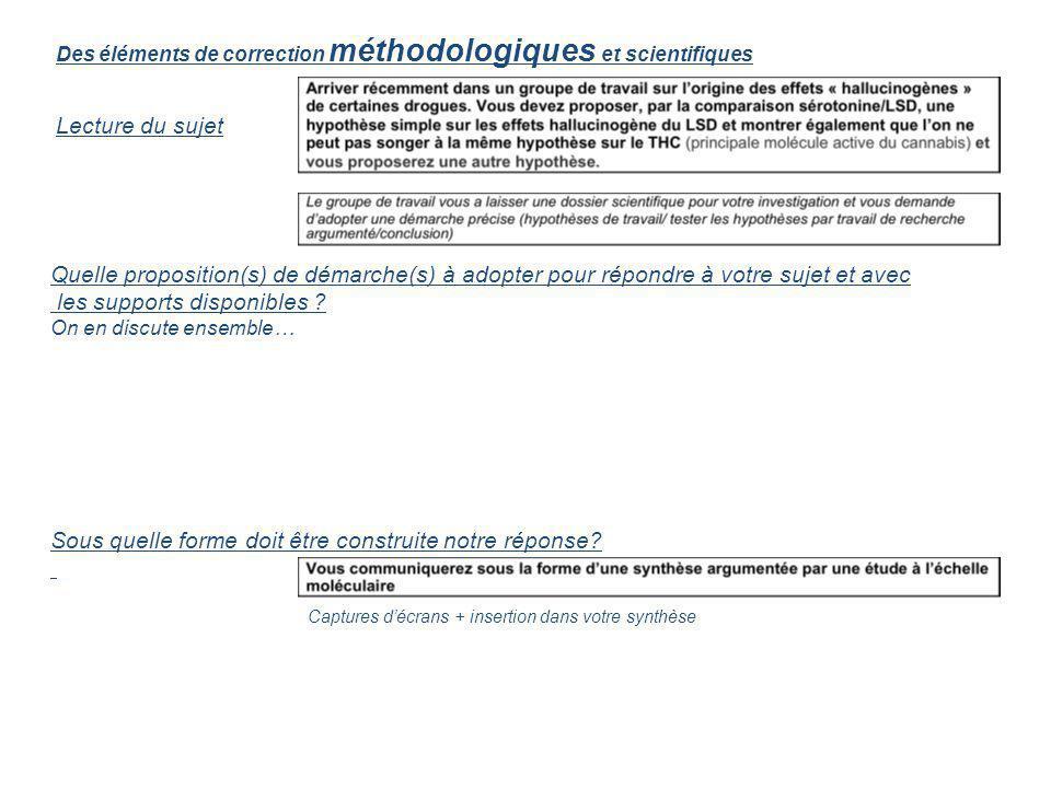 Des éléments de correction méthodologiques et scientifiques Lecture du sujet Quelle proposition(s) de démarche(s) à adopter pour répondre à votre suje