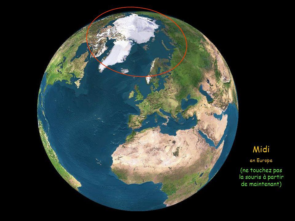 Nous allons suivre une simulation en images de satellite et voir comment le soleil éclaire la Terre le 21 juin, (Solstice dété) le jour le plus long d