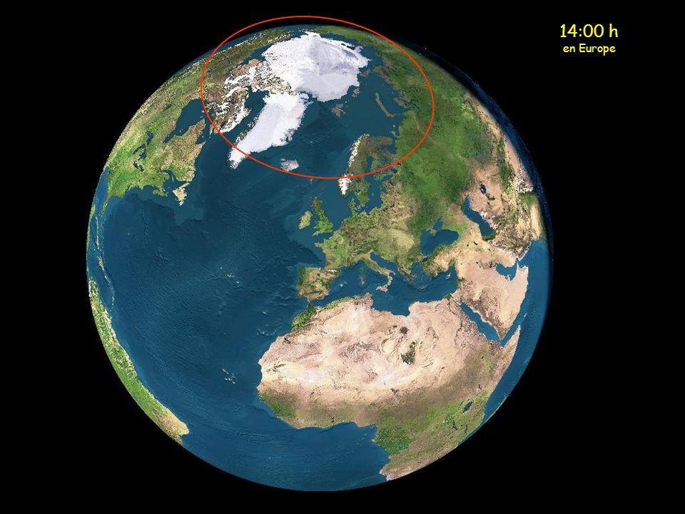 Minuit en Europe Le soleil se trouve actuellement au- dessus de la partie nord de la Scandinavie (cercle jaune)