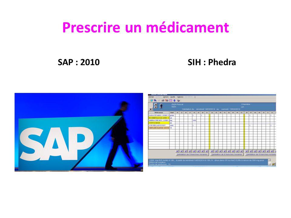 Prescrire un médicament SAP : 2010SIH : Phedra