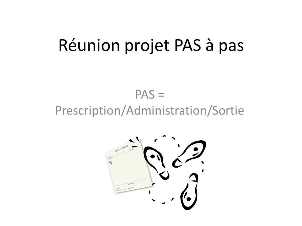 Réunion projet PAS à pas PAS = Prescription/Administration/Sortie