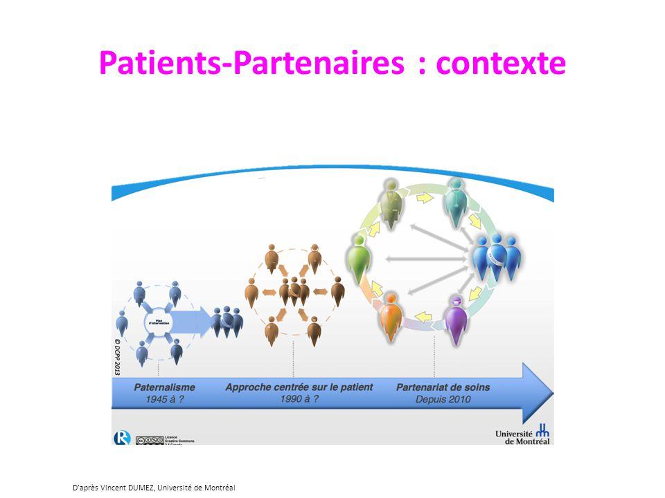 Patients-Partenaires : contexte Daprès Vincent DUMEZ, Université de Montréal
