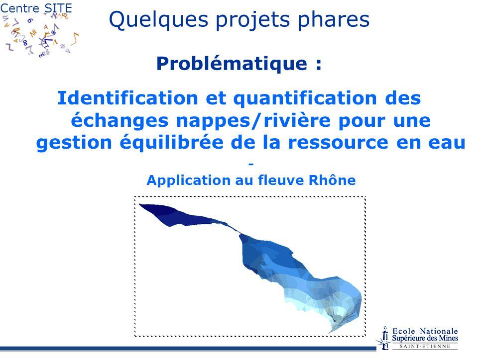 Centre SITE Quelques projets phares Problématique : Identification et quantification des échanges nappes/rivière pour une gestion équilibrée de la ressource en eau - Application au fleuve Rhône