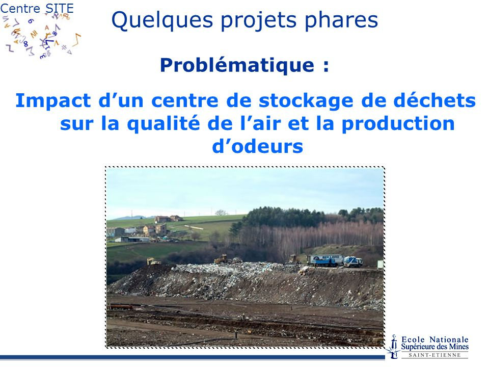 Centre SITE Quelques projets phares Problématique : Impact dun centre de stockage de déchets sur la qualité de lair et la production dodeurs