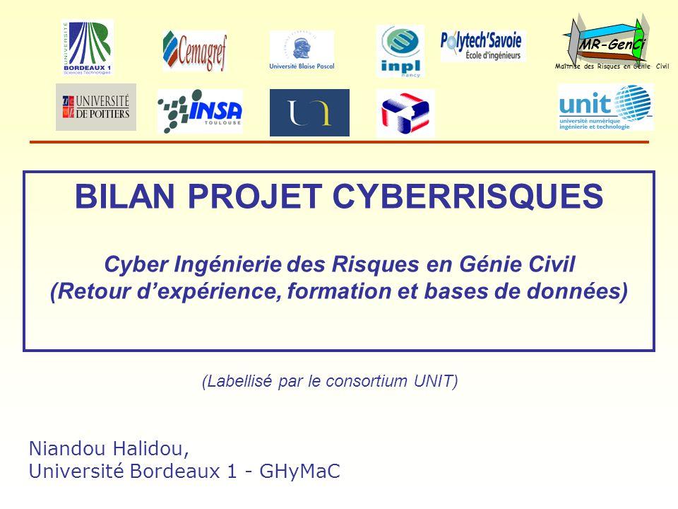 BILAN PROJET CYBERRISQUES Cyber Ingénierie des Risques en Génie Civil (Retour dexpérience, formation et bases de données) Maîtrise des Risques en Géni