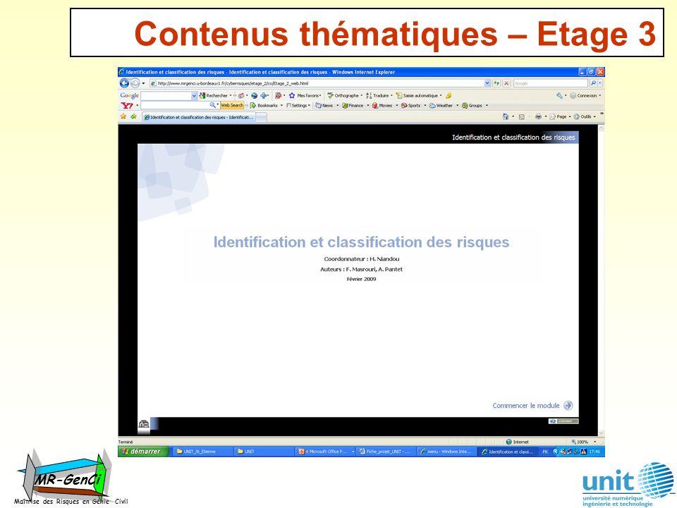 Contenus thématiques – Etage 3 Maîtrise des Risques en Génie Civil MR-GenCi