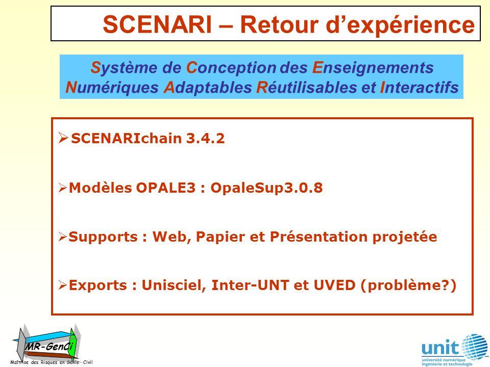SCENARI – Retour dexpérience SCENARIchain 3.4.2 Modèles OPALE3 : OpaleSup3.0.8 Supports : Web, Papier et Présentation projetée Exports : Unisciel, Int