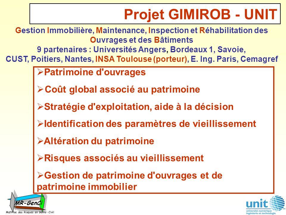 Projet GIMIROB - UNIT Maîtrise des Risques en Génie Civil MR-GenCi Gestion Immobilière, Maintenance, Inspection et Réhabilitation des Ouvrages et des