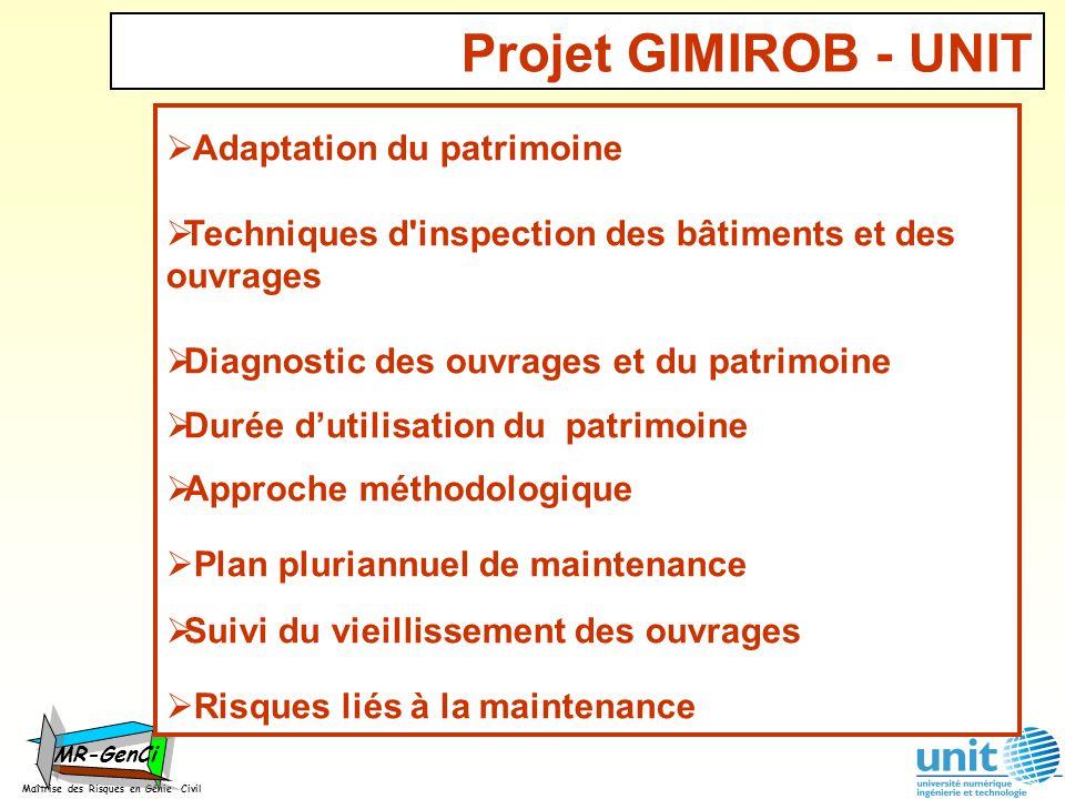 Maîtrise des Risques en Génie Civil MR-GenCi Adaptation du patrimoine Techniques d'inspection des bâtiments et des ouvrages Diagnostic des ouvrages et