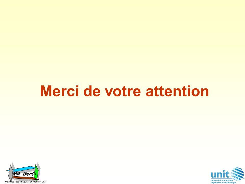 Maîtrise des Risques en Génie Civil MR-GenCi Merci de votre attention