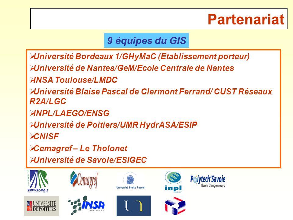 Partenariat Université Bordeaux 1/GHyMaC (Etablissement porteur) Université de Nantes/GeM/Ecole Centrale de Nantes INSA Toulouse/LMDC Université Blais
