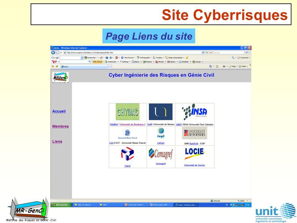 Site Cyberrisques Maîtrise des Risques en Génie Civil MR-GenCi Page Liens du site