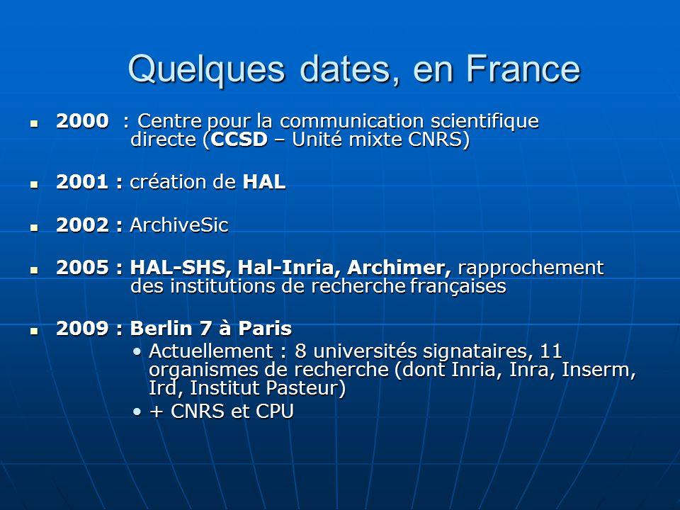 Quelques dates, en France 2000 : Centre pour la communication scientifique directe (CCSD – Unité mixte CNRS) 2000 : Centre pour la communication scien