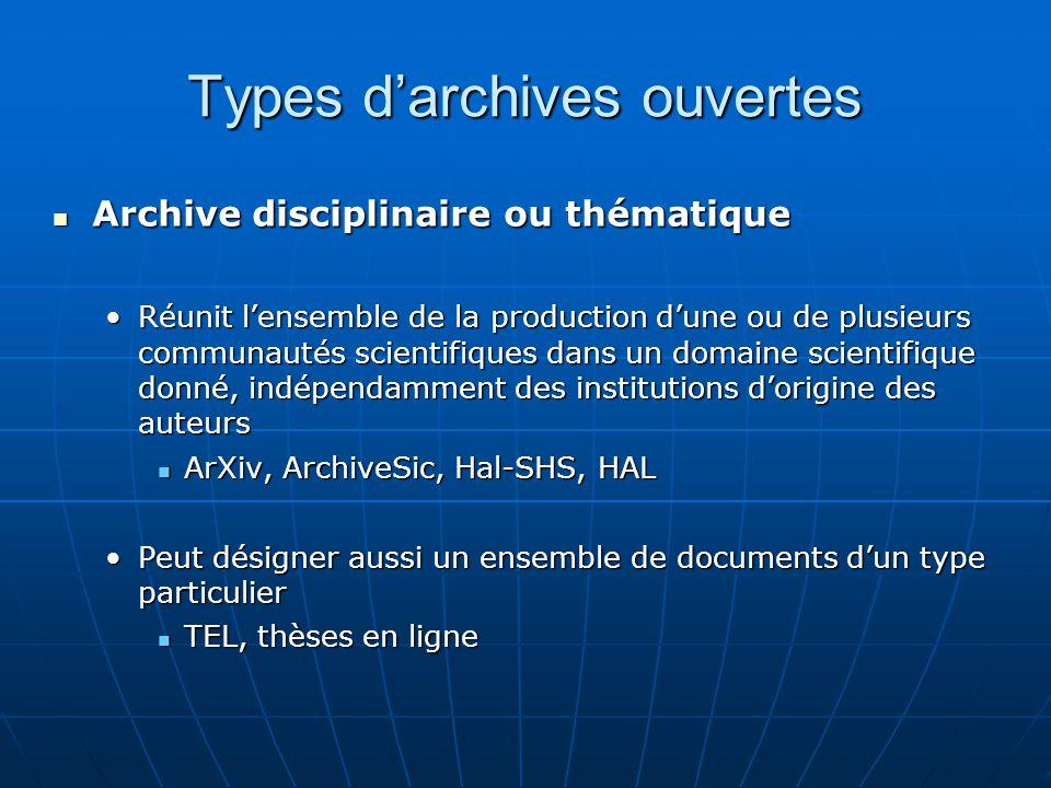 Types darchives ouvertes Archive disciplinaire ou thématique Archive disciplinaire ou thématique Réunit lensemble de la production dune ou de plusieur
