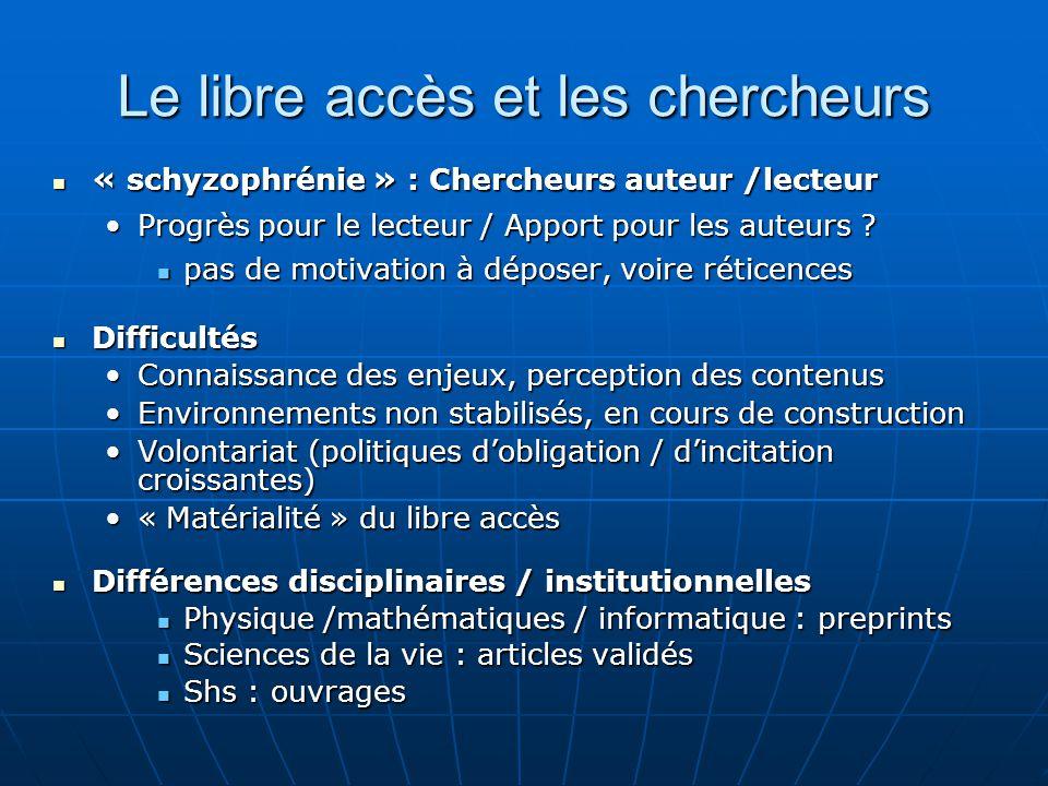 Le libre accès et les chercheurs « schyzophrénie » : Chercheurs auteur /lecteur « schyzophrénie » : Chercheurs auteur /lecteur Progrès pour le lecteur