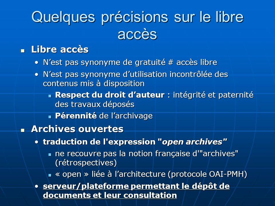 Quelques précisions sur le libre accès Libre accès Libre accès Nest pas synonyme de gratuité # accès libreNest pas synonyme de gratuité # accès libre