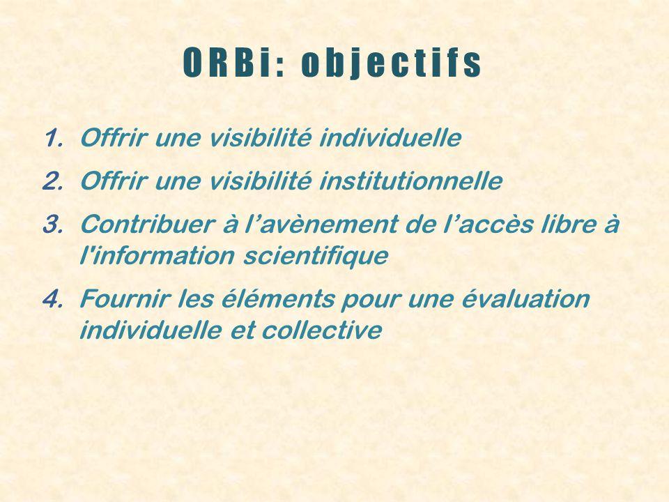 ORBi: objectifs 1.Offrir une visibilité individuelle 2.Offrir une visibilité institutionnelle 3.Contribuer à lavènement de laccès libre à l information scientifique 4.Fournir les éléments pour une évaluation individuelle et collective