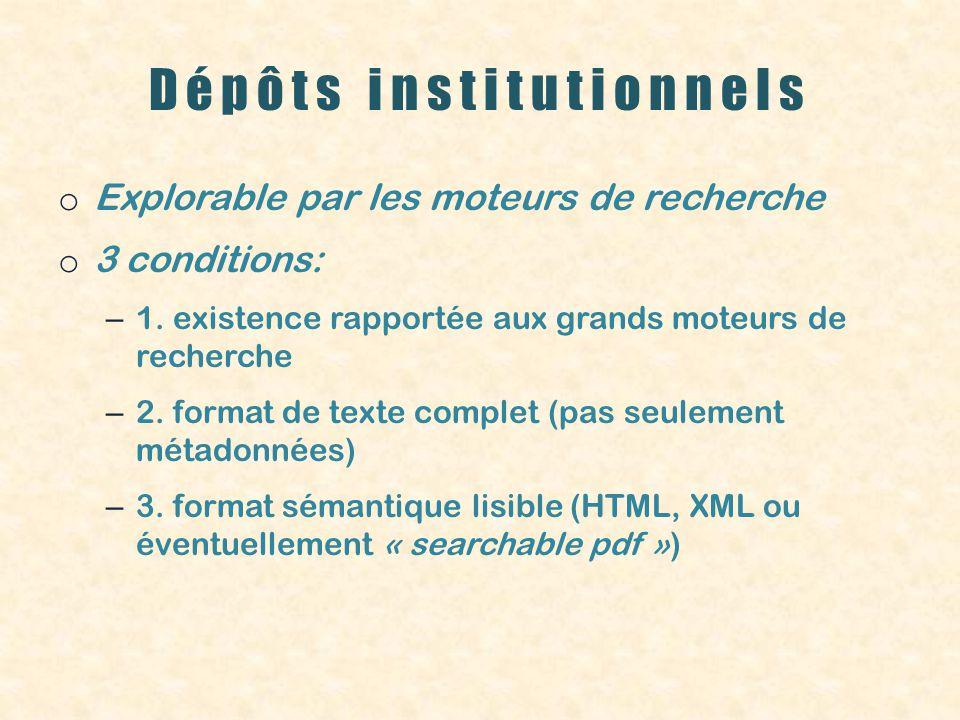 Dépôts institutionnels o Explorable par les moteurs de recherche o 3 conditions: – 1.