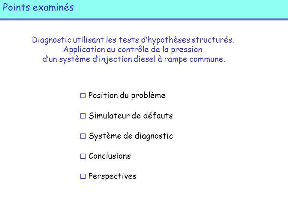 Points examinés o Position du problème o Simulateur de défauts o Système de diagnostic o Conclusions o Perspectives Diagnostic utilisant les tests dhypothèses structurés.
