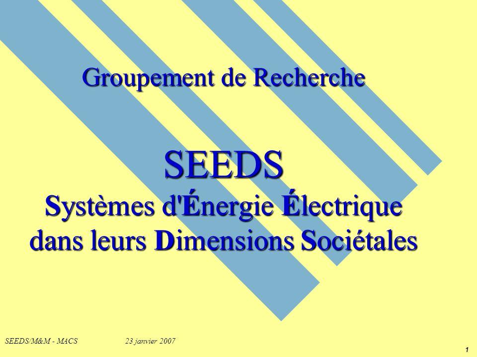1 SEEDS/M&M - MACS 23 janvier 2007 Groupement de Recherche SEEDS Systèmes d'Énergie Électrique dans leurs Dimensions Sociétales