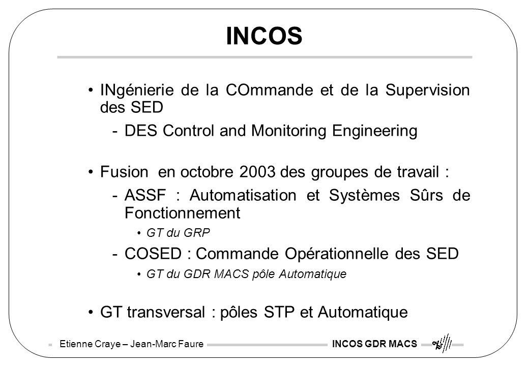 Etienne Craye – Jean-Marc Faure INCOS GDR MACS INCOS INgénierie de la COmmande et de la Supervision des SED -DES Control and Monitoring Engineering Fu