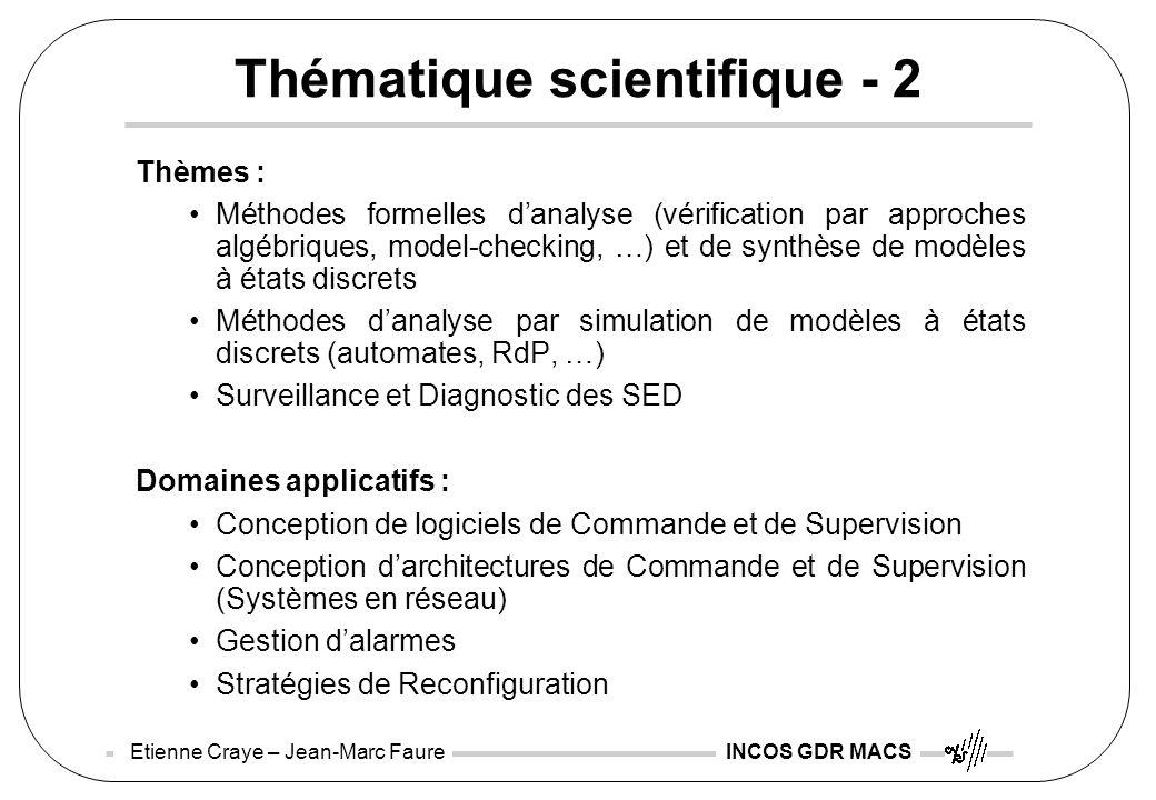 Etienne Craye – Jean-Marc Faure INCOS GDR MACS Thématique scientifique - 2 Thèmes : Méthodes formelles danalyse (vérification par approches algébrique
