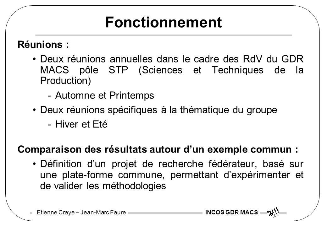 Etienne Craye – Jean-Marc Faure INCOS GDR MACS Fonctionnement Réunions : Deux réunions annuelles dans le cadre des RdV du GDR MACS pôle STP (Sciences