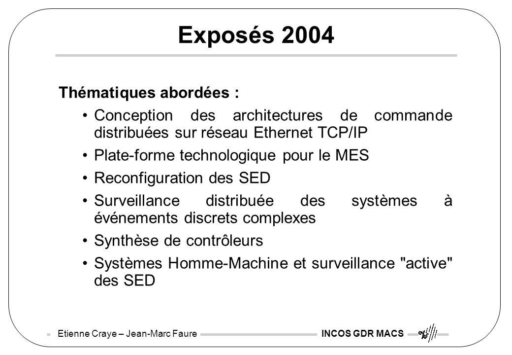 Etienne Craye – Jean-Marc Faure INCOS GDR MACS Exposés 2004 Thématiques abordées : Conception des architectures de commande distribuées sur réseau Eth