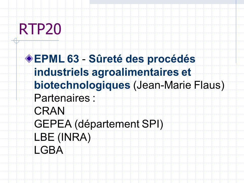 RTP20 EPML 63 - Sûreté des procédés industriels agroalimentaires et biotechnologiques (Jean-Marie Flaus) Partenaires : CRAN GEPEA (département SPI) LB