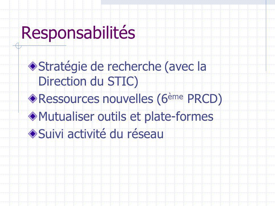 Responsabilités Stratégie de recherche (avec la Direction du STIC) Ressources nouvelles (6 ème PRCD) Mutualiser outils et plate-formes Suivi activité