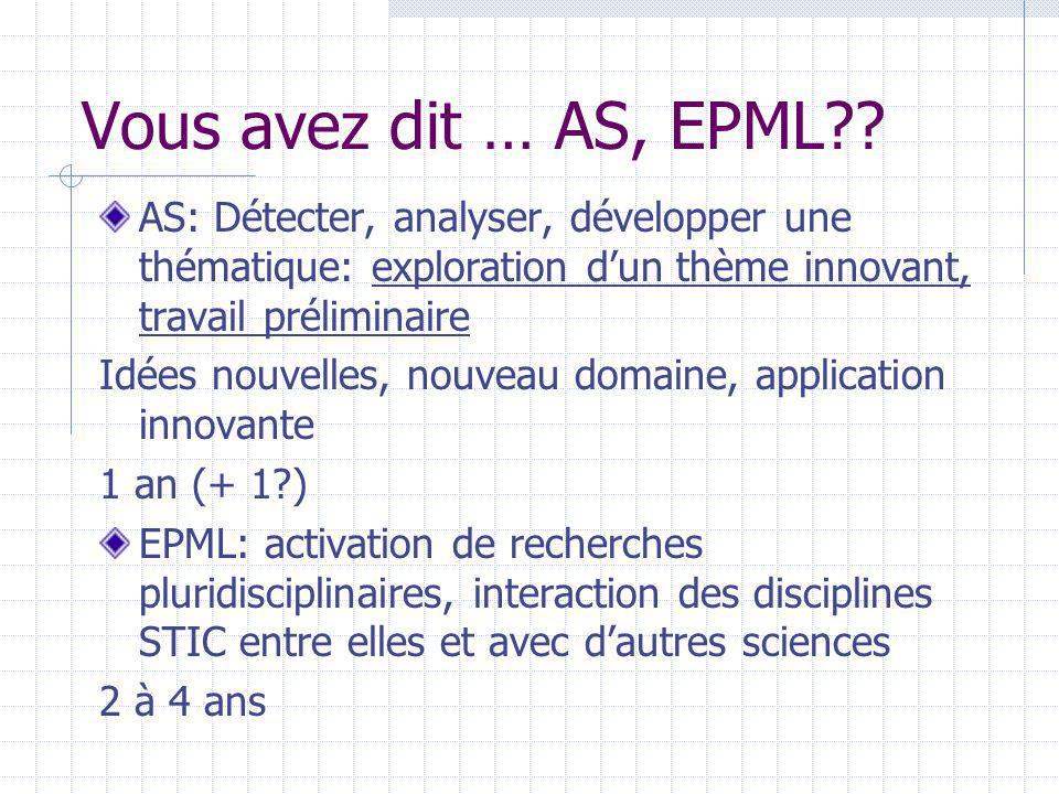 Vous avez dit … AS, EPML?? AS: Détecter, analyser, développer une thématique: exploration dun thème innovant, travail préliminaire Idées nouvelles, no