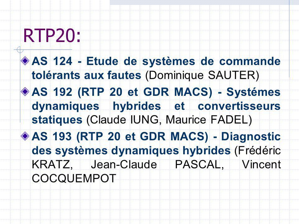 RTP20: AS 124 - Etude de systèmes de commande tolérants aux fautes (Dominique SAUTER) AS 192 (RTP 20 et GDR MACS) - Systémes dynamiques hybrides et co