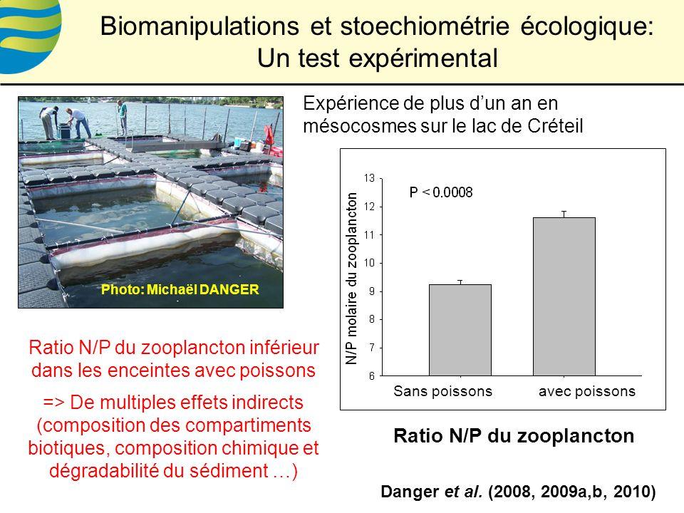 Expérience de plus dun an en mésocosmes sur le lac de Créteil Ratio N/P du zooplancton inférieur dans les enceintes avec poissons => De multiples effets indirects (composition des compartiments biotiques, composition chimique et dégradabilité du sédiment …) Danger et al.