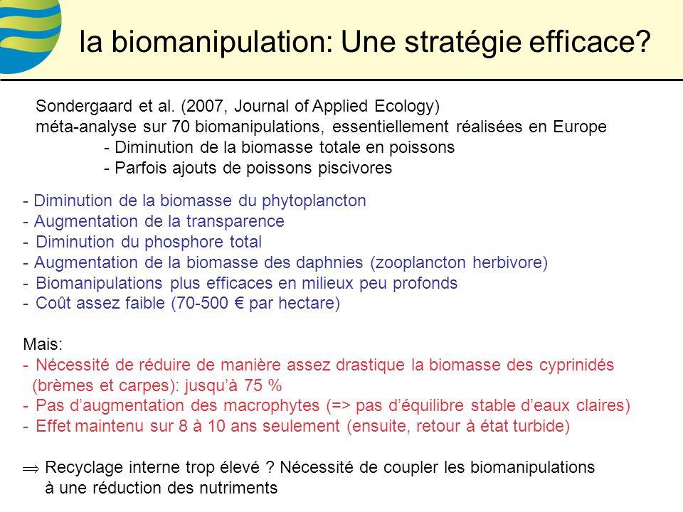 - Diminution de la biomasse du phytoplancton - Augmentation de la transparence - Diminution du phosphore total - Augmentation de la biomasse des daphnies (zooplancton herbivore) - Biomanipulations plus efficaces en milieux peu profonds - Coût assez faible (70-500 par hectare) Mais: - Nécessité de réduire de manière assez drastique la biomasse des cyprinidés (brèmes et carpes): jusquà 75 % - Pas daugmentation des macrophytes (=> pas déquilibre stable deaux claires) - Effet maintenu sur 8 à 10 ans seulement (ensuite, retour à état turbide) Recyclage interne trop élevé .