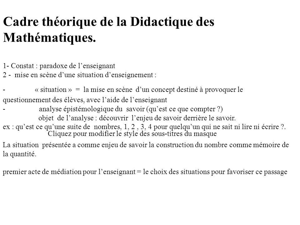 Cliquez pour modifier le style des sous-titres du masque Cadre théorique de la Didactique des Mathématiques.