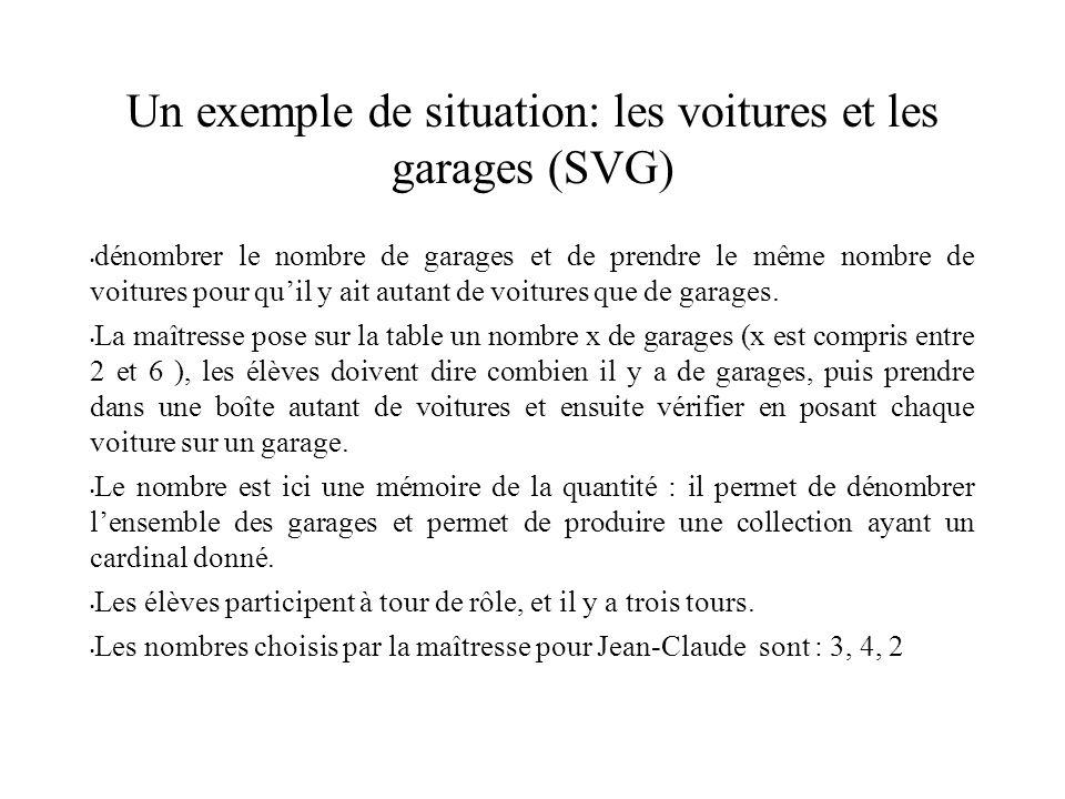Un exemple de situation: les voitures et les garages (SVG) dénombrer le nombre de garages et de prendre le même nombre de voitures pour quil y ait autant de voitures que de garages.