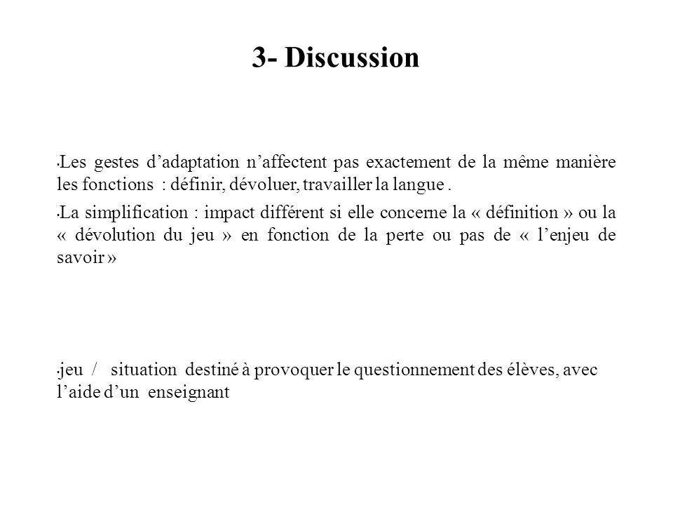 3- Discussion Les gestes dadaptation naffectent pas exactement de la même manière les fonctions : définir, dévoluer, travailler la langue.