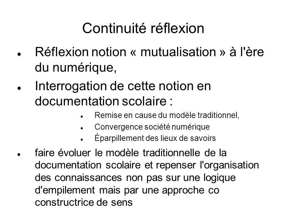 Continuité réflexion Réflexion notion « mutualisation » à l'ère du numérique, Interrogation de cette notion en documentation scolaire : Remise en caus