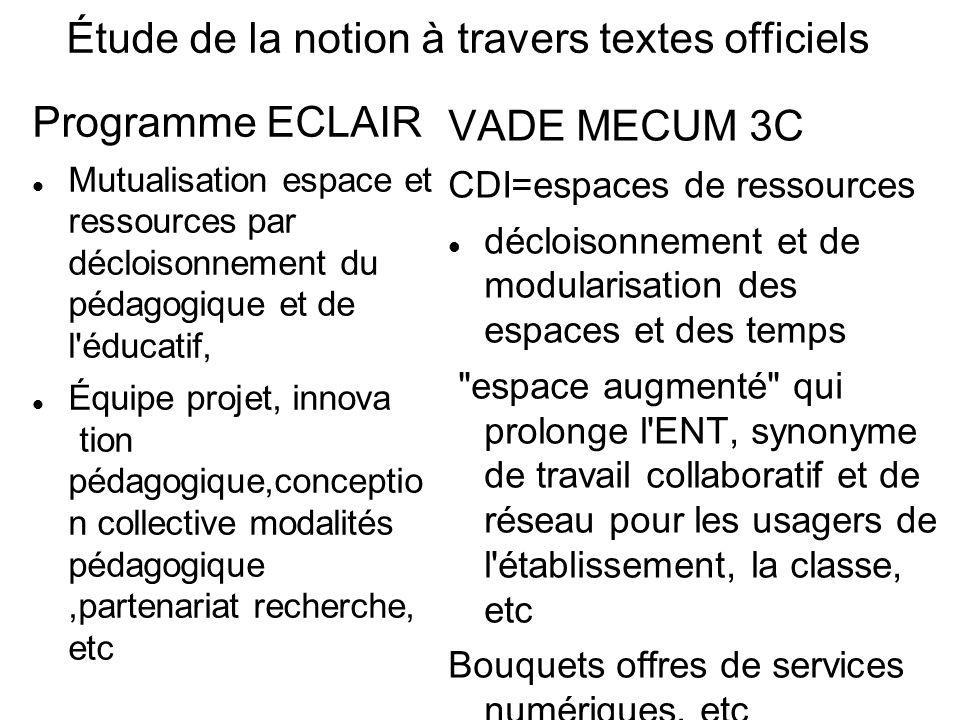 Étude de la notion à travers textes officiels Programme ECLAIR Mutualisation espace et ressources par décloisonnement du pédagogique et de l'éducatif,