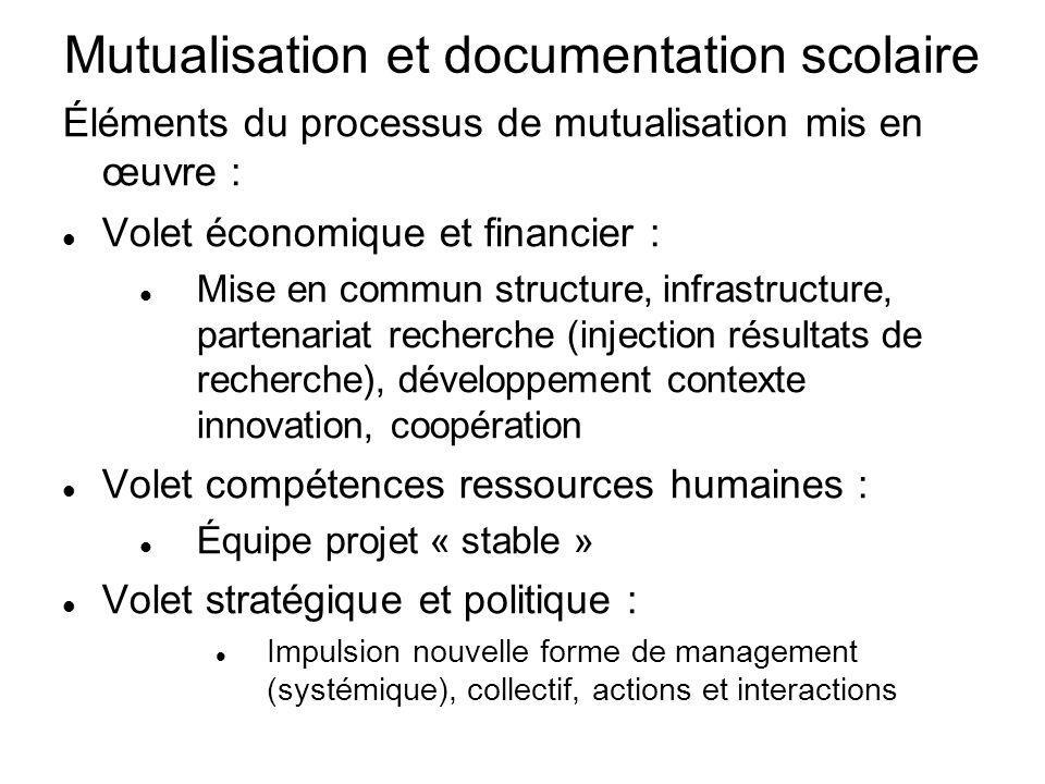 Mutualisation et documentation scolaire Éléments du processus de mutualisation mis en œuvre : Volet économique et financier : Mise en commun structure
