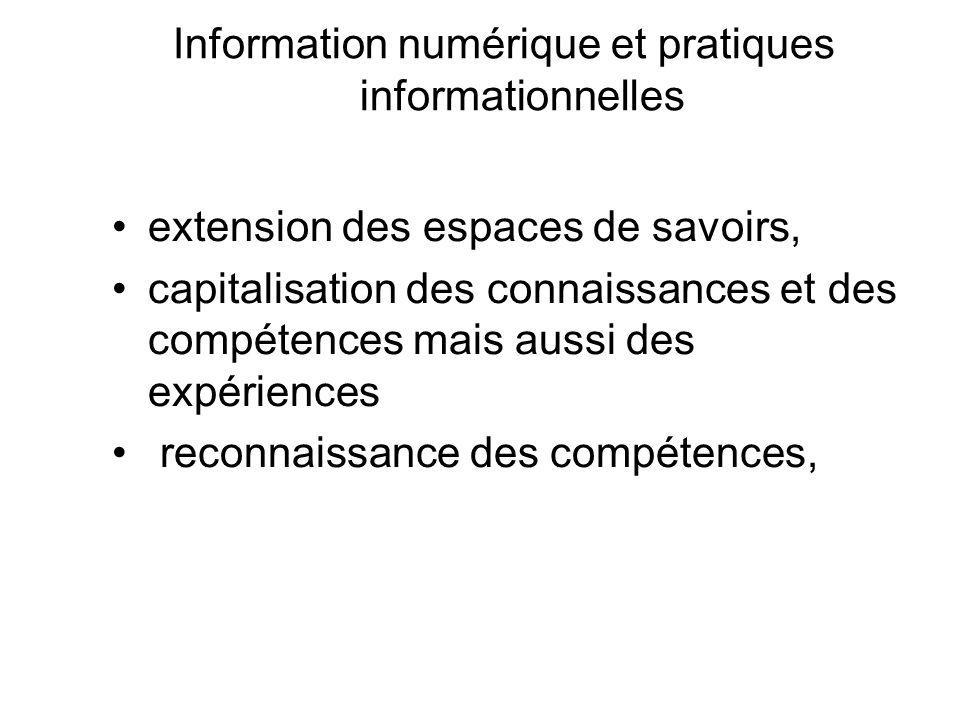 Information numérique et pratiques informationnelles extension des espaces de savoirs, capitalisation des connaissances et des compétences mais aussi