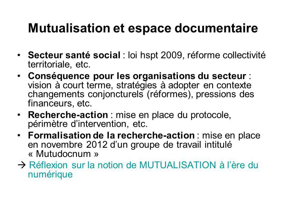 Mutualisation et espace documentaire Secteur santé social : loi hspt 2009, réforme collectivité territoriale, etc. Conséquence pour les organisations