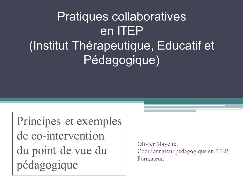 Pratiques collaboratives en ITEP (Institut Thérapeutique, Educatif et Pédagogique) Principes et exemples de co-intervention du point de vue du pédagog