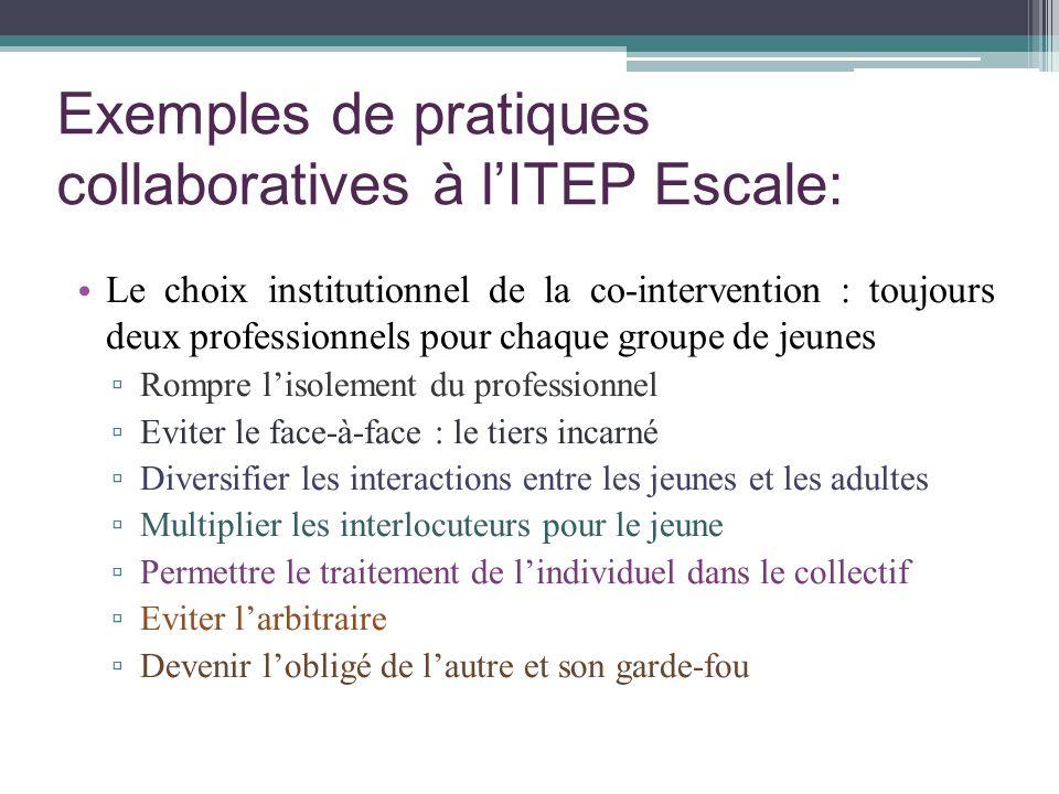 Exemples de pratiques collaboratives à lITEP Escale: Le choix institutionnel de la co-intervention : toujours deux professionnels pour chaque groupe d